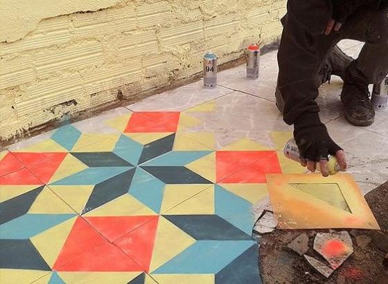 Cores de tinta para piso externo