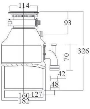 Triturador-de-Residuos-de-Alimentos-55-220V-Franke-medidas-largura-comprimento-altura-peca