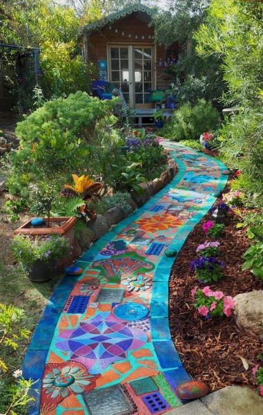 piso-de-pedras-pintadas-de-colorido