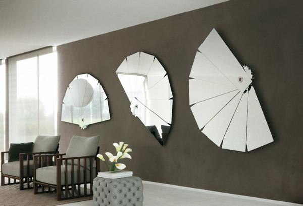espelho em formato diferente-sala de estar