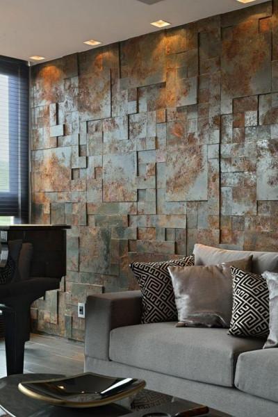 revestimento-aleatorio-3d-parede-moderno-industrial-ferrugem-sala-estar-escura-aconchegante