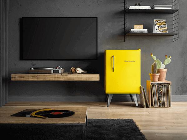 geladeira-amarela-sala-de-estar