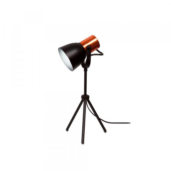 Luminária-de-mesa-E27-preto-e-cobre-City-Spot-Line
