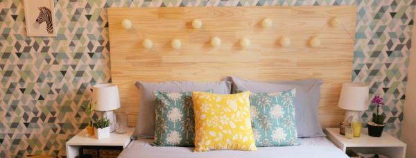 casa-decoracao-itens-cores-decorativos-decorar-personalizar-decor-quarto-cama-amarelo-cobertas-lampada-abajur-luminaria-papel-parede