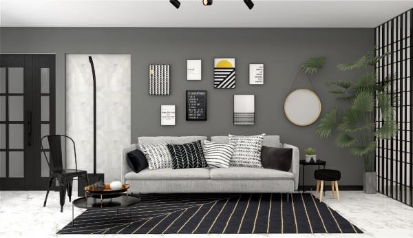estilo-moderno-modern-style-decoracao-casa-itens-preto-branco-sala-estar-quadros-espelho-sofa-almofadas-tapete-imagem