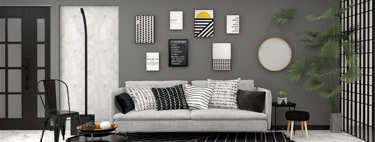 estilo-moderno-modern-style-decoracao-casa-itens-preto-branco-sala-estar-quadros-espelho-sofa-almofadas-tapete